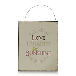 Natural Matt Typography Tin Hanging Plaque