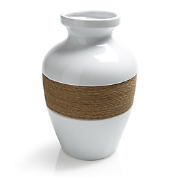 White Hessian Wrapped Urn Ceramic Vase, Large