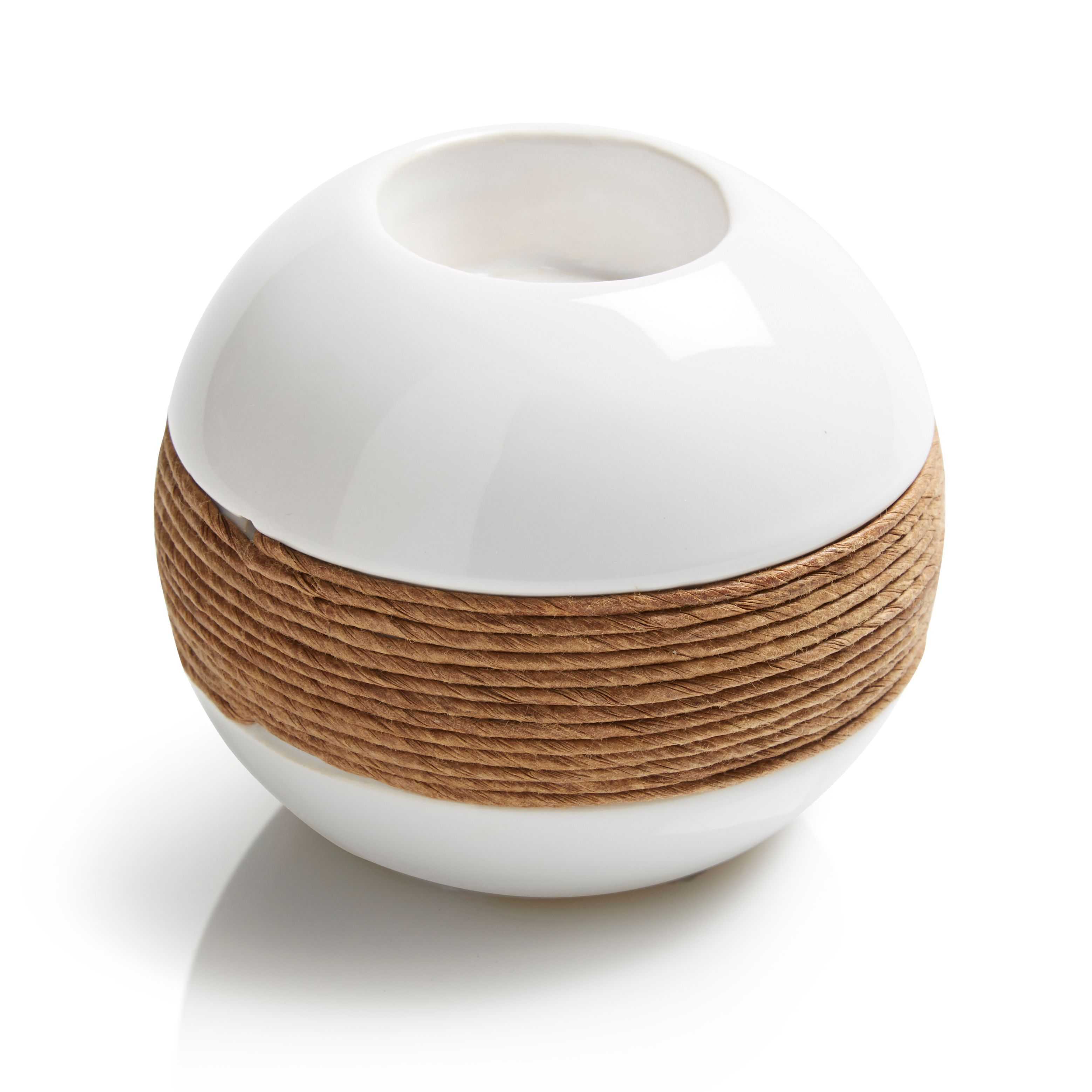 Cream Ceramic & Rope Tealight Holder, Small