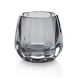 Grey Facet Glass Candle Holder, Small