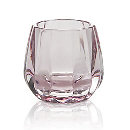 Pink Facet Glass Candle Holder, Small