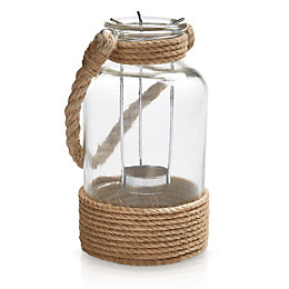 Glass & Rope Hurricane Jar, Medium