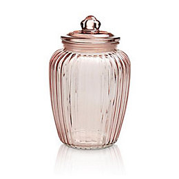 Pink Ornate Glass Jar, Large