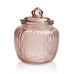 Pink Ornate Glass Jar, Medium