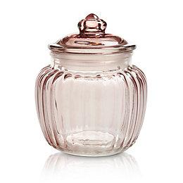 Pink Ornate Glass Jar, Small