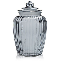 Grey Ornate Glass Jar, Large
