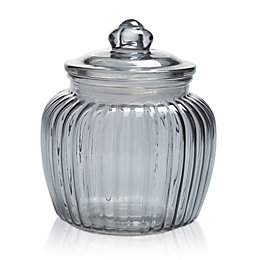 Grey Ornate Glass Jar, Medium