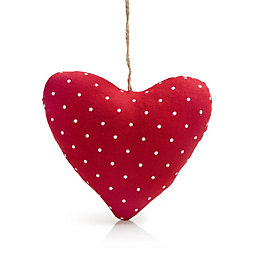 Red Polka Dot Fabric Hanging Heart Ornament