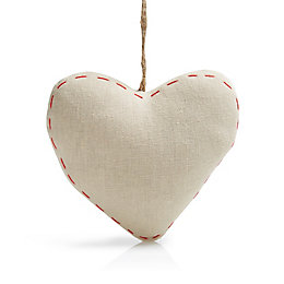 Natural Red Stitched Fabric Hanging Heart Ornament