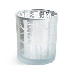 Silver Frosted Tree Branch Tealight Holder, Small