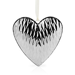 Silver Effect Hammered Metal Hanging Heart Ornament
