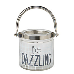 'Be Dazzling' Glass Tealight Lantern