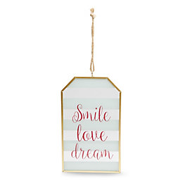 'Smile, Love, Dream' Multicolour Glass Tag Plaque (W)12cm