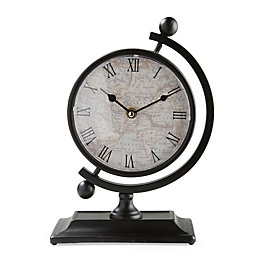 Map Vintage Style Black Analogue Clock