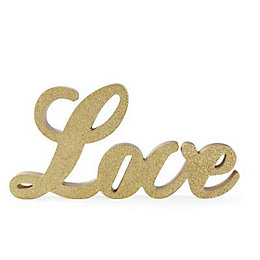Gold Glitter Love MDF Ornament
