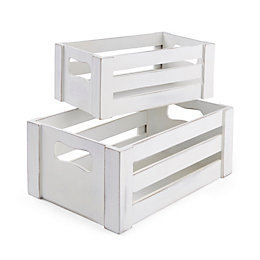 White Wooden Crate, Set of 2