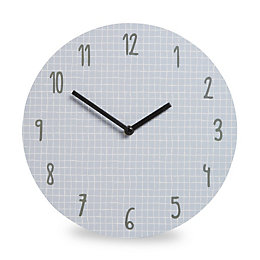 Grid Modern Blue & White Clock