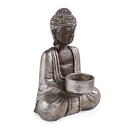 Silver Buddha Resin Tealight Holder