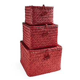 Red Water Hyacinth & Seagrass Storage Basket, Set