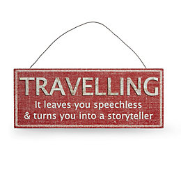 Travelling, It Leaves You Speechless Multicolour Plaque (W)30cm
