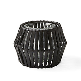 Black Woven Plywood Tealight Holder