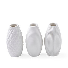 White Textured Ceramic Bottles, Set of 3