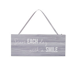 Purple A Smile Wood Plaque