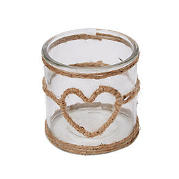 Heart Glass & Twine Tealight Holder