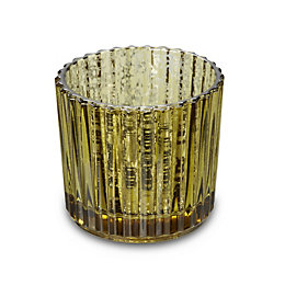 Gold Mercurised Ridged Glass Tea Light Holder