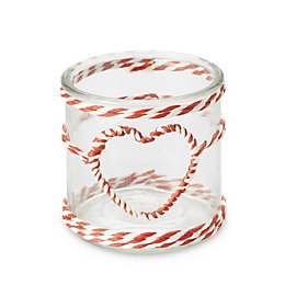 Red & White Twine Heart Glass Tealight Holder