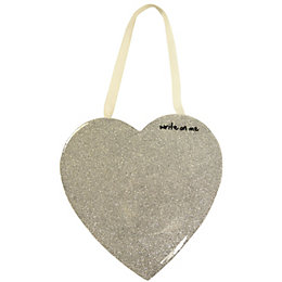Heart Silver White Board (W)150mm (H)150mm