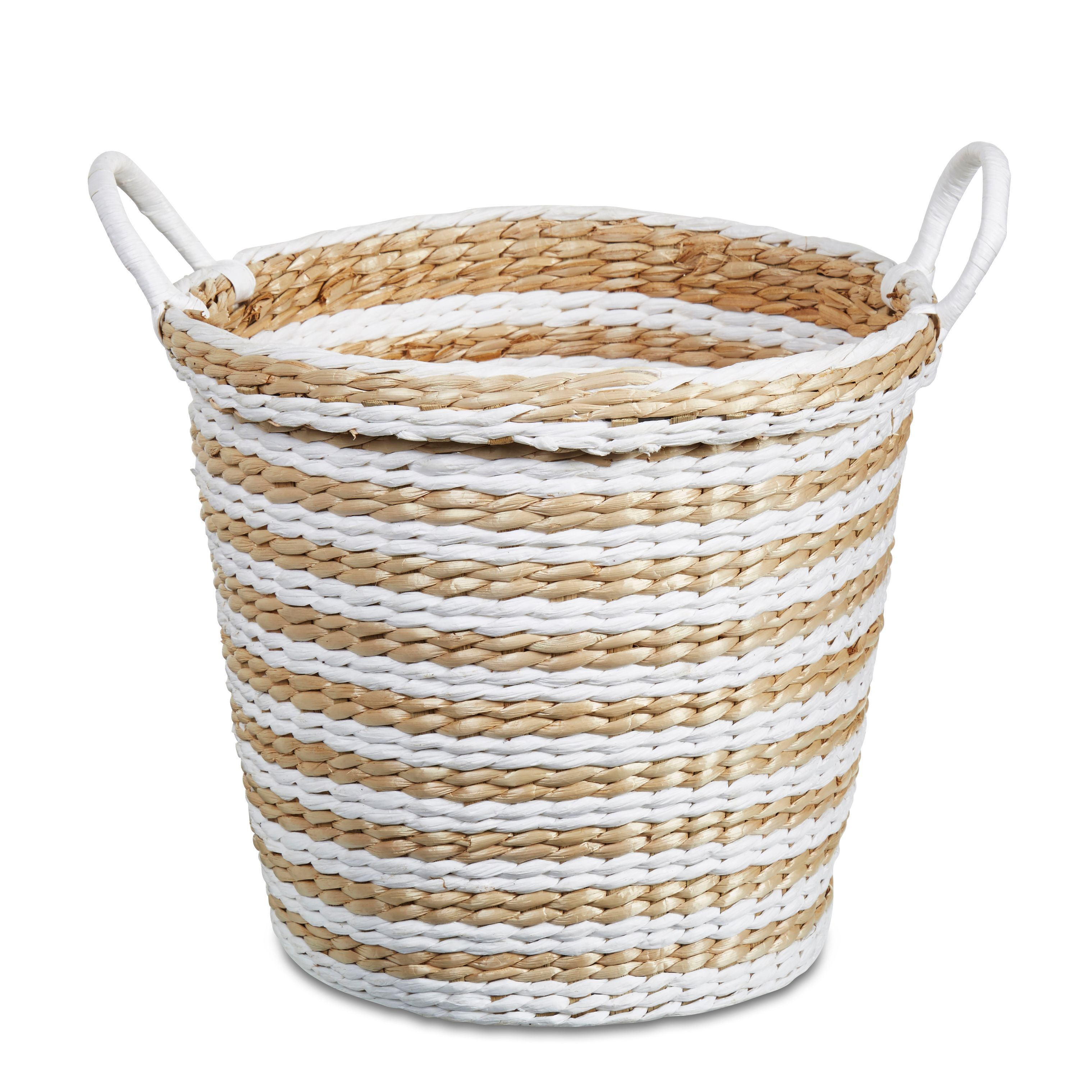 Striped Straw Basket