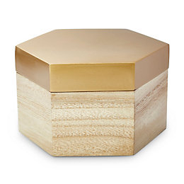 Gold Effect Octagon Trinket Box