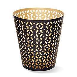 Black & Gold Filigree Metal Tea Light Holder