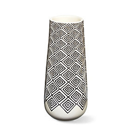Cream Geometric Diamond Dolomite Vase