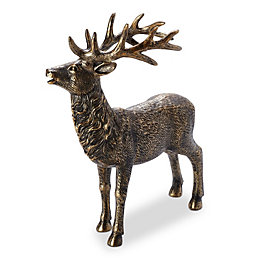 Bronze Effect Standing Stag Resin Ornament