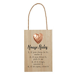 House Rules Rose Gold Plaque (W)160mm (H)240mm