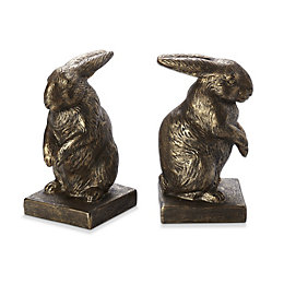 Bronze Effect Bunny Resin Bookends