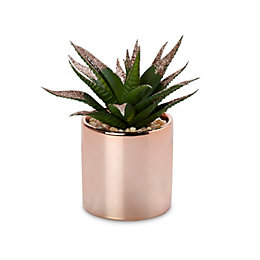 Rose Gold Pot with Faux Plant