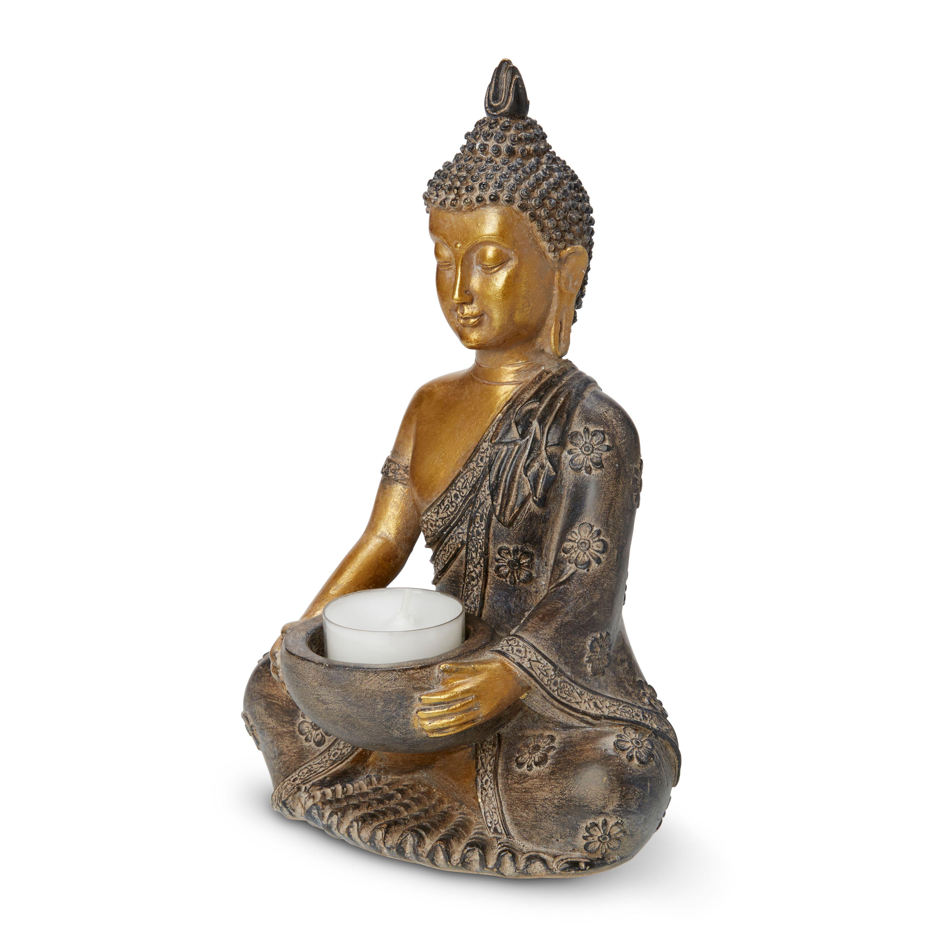 Gold Effect Sitting Buddha Resin Tealight Holder