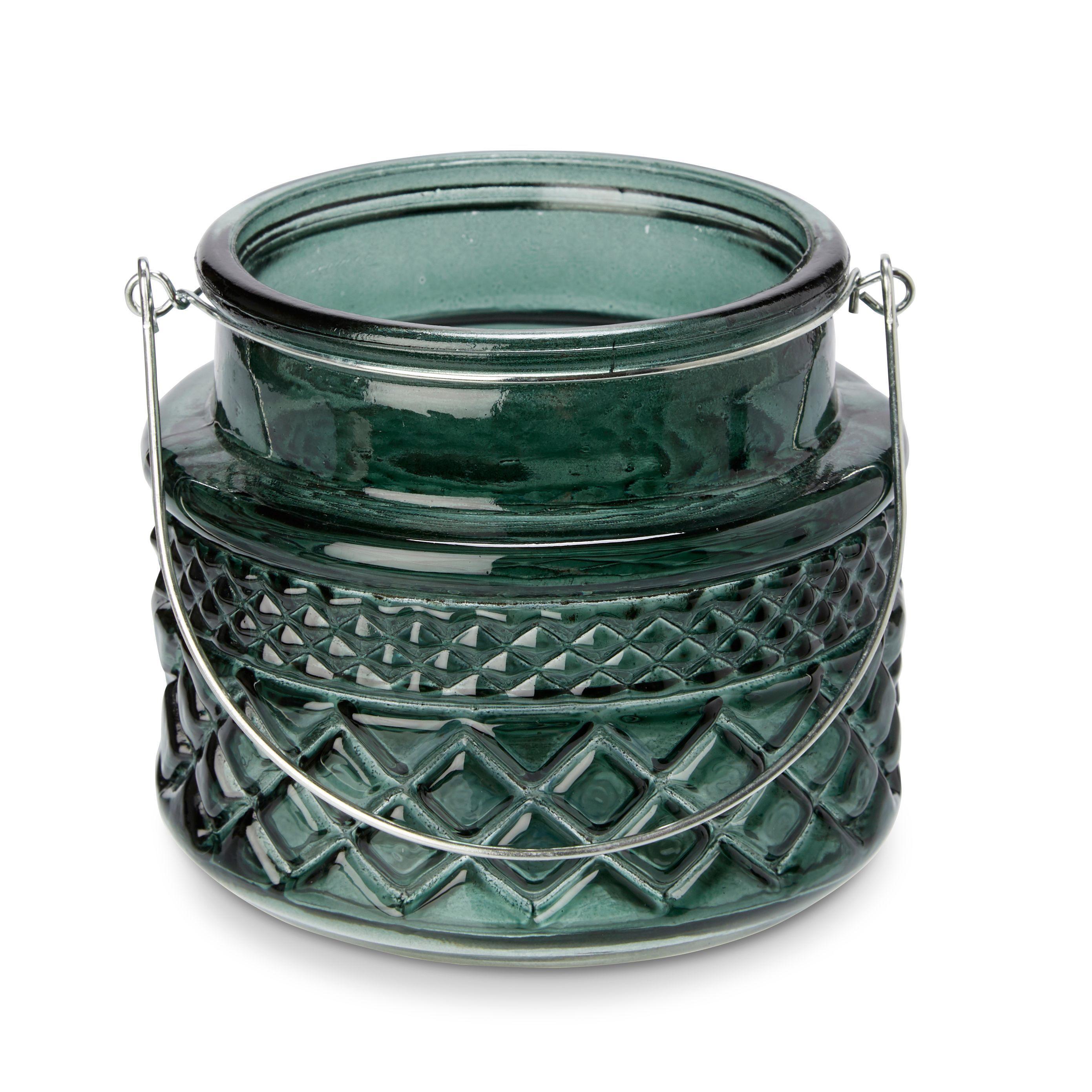 Green Embossed Glass Tealight Holder, Small
