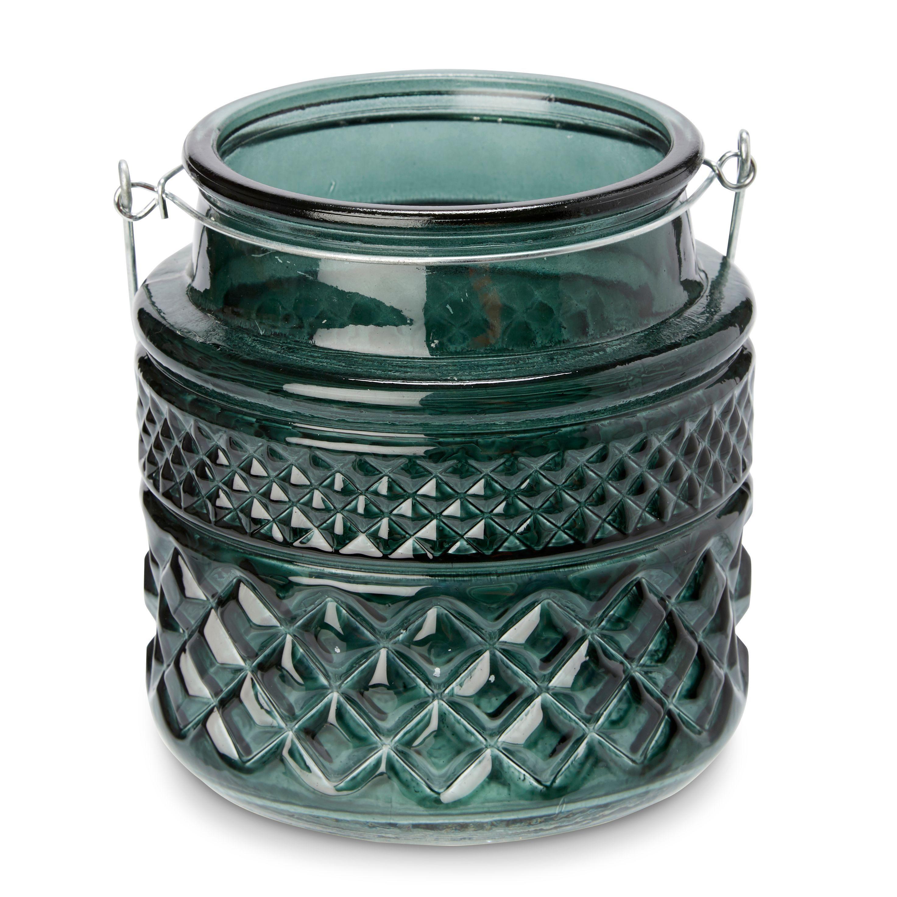 Green Embossed Glass Tealight Holder, Medium
