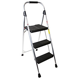 Abru 3 Tread Aluminium Step Stool, (H)1.36m
