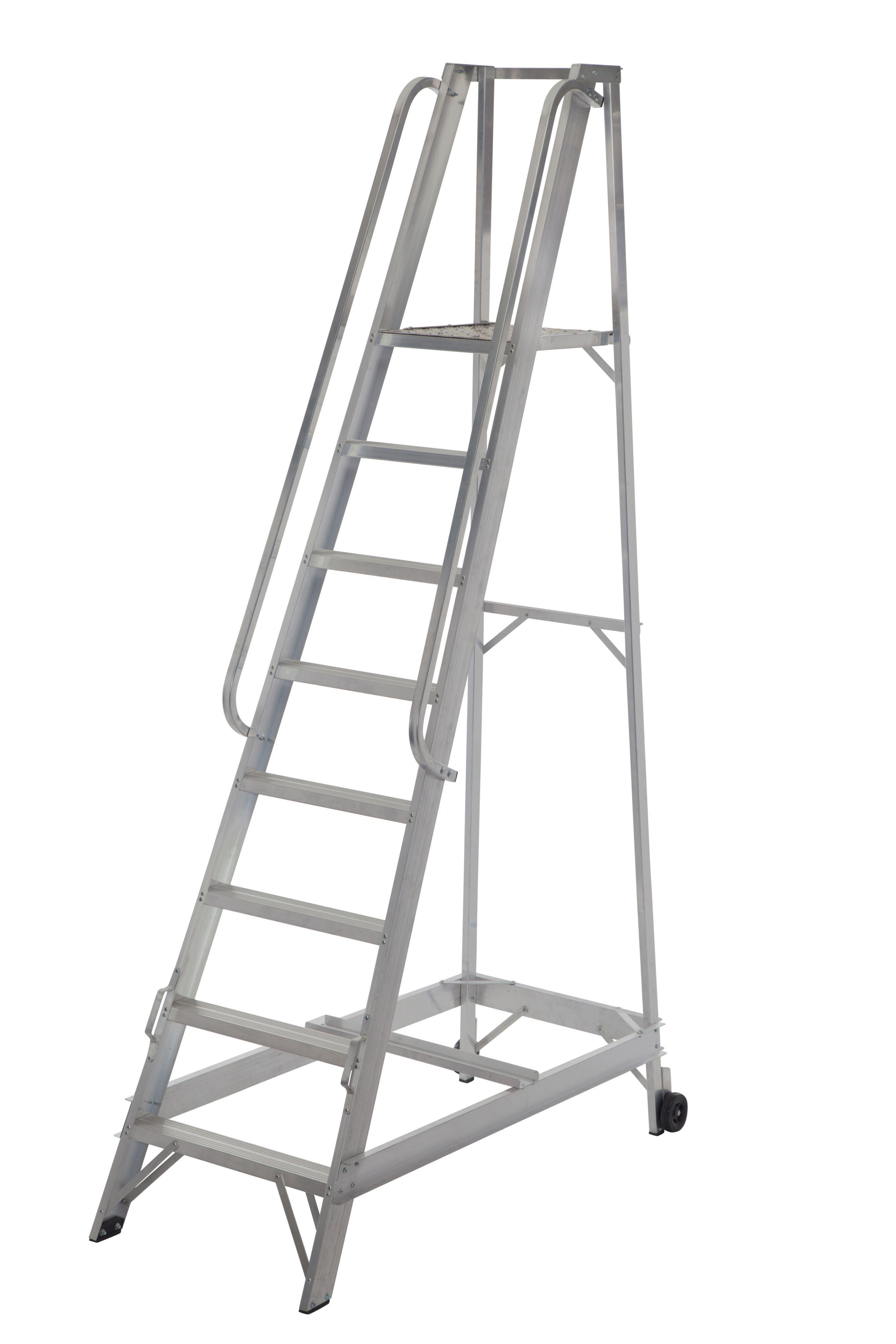 Werner 8 Tread Aluminium Platform Stepladder, 2.5 M