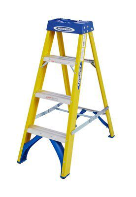 Werner 4 Tread Fibreglass Swing Back Stepladder 1 1 M