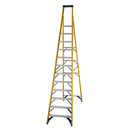Werner 12 Tread Fibreglass Platform Stepladder, (H)3410mm