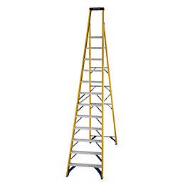 Werner 12 Tread Fibreglass Platform Stepladder, 3.4 M