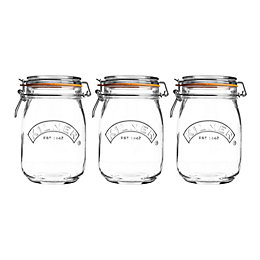 Kilner 1L Glass Clip Top Storage Jar, Set
