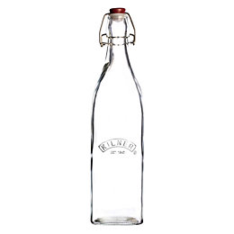 Kilner 1L Clear Glass Square Clip Top Bottle