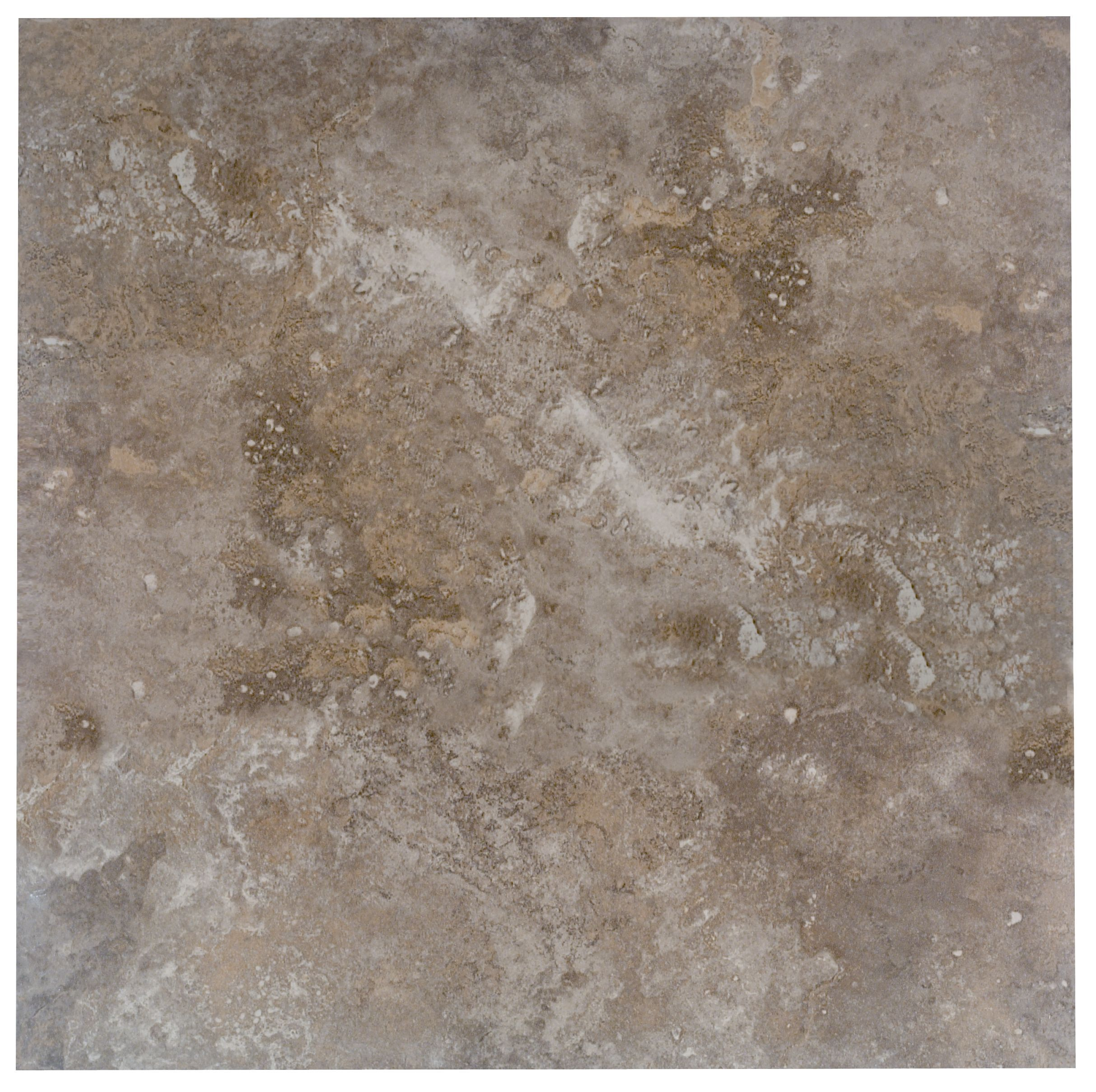 Castle Travertine Coffee Stone Effect Ceramic Wall & Floor Tile, Pack Of 5, (l)450mm (w)450mm